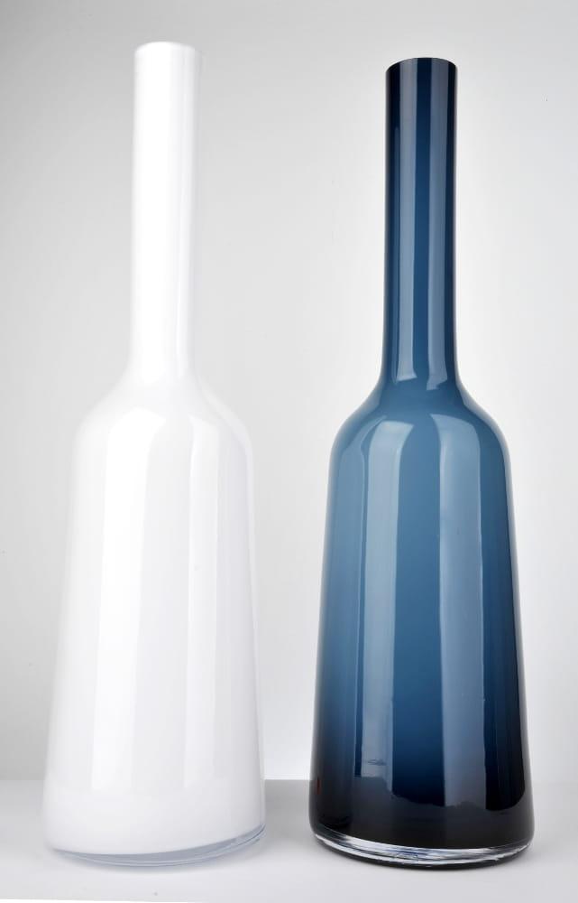 Wysoki Podłogowy Wazon Ciemnobłękitna Butelka H 70 Cm