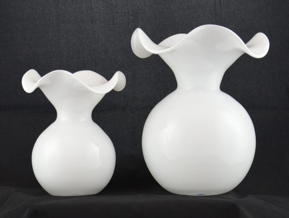 Artystyczny Wazon Z Białego Szkła H 19 Cm