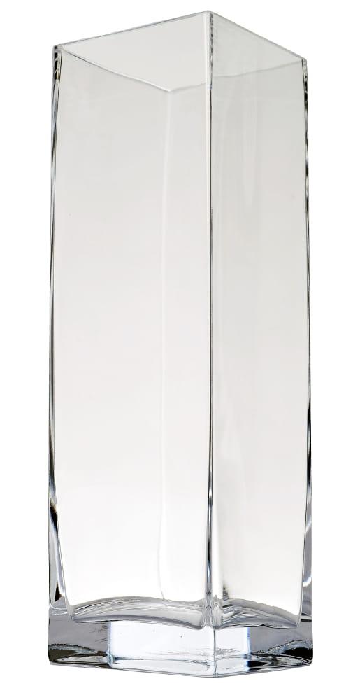 Kwadratowy Wazon Z Bezbarwnego Szkła H 40 Cm