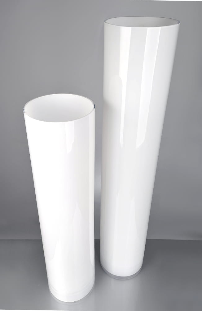 Biały Podłogowy Wazon Tuba H 60 Cm